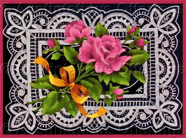 Rare Marchie Vibrant Pink Roses Tied with Yellow Ribbon Crewel Embroidery Kit Dramatic Lace