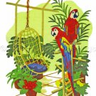 Rare Blyler Parrots in Tropical Porch Crewel Embroidery Kit Scarlet Macaws Atrium Plants