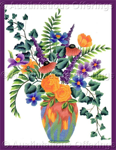 Elsa Williams Vibrant Floral Crewel Embroidery Kit Butterfly Bush Blooms Ivy Leaves Michael LeClair