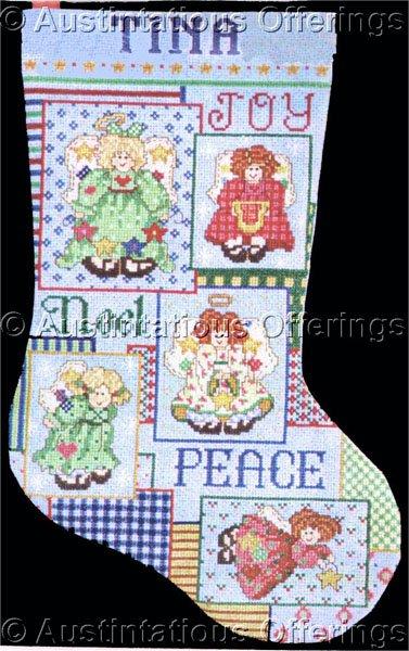 RARE CAROL BRYAN CHRISTMAS CROSS STITCH STOCKING KIT FOLK ART ANGELS PEACE NOEL JOY