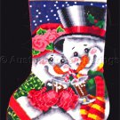 Rare Pisoni Top Hat Snowman Snowlady Needlepoint Stocking Kit Toasty Warm
