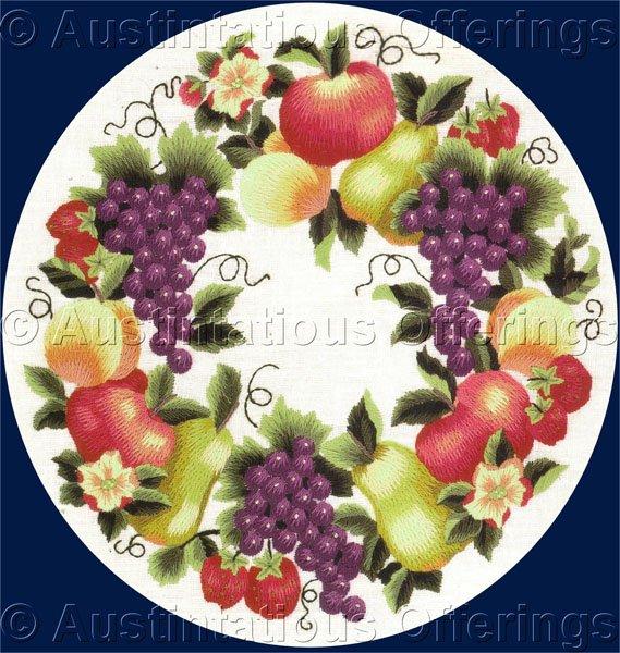 Rare LeClair Ripe Fruit Wreath Crewel Embroidery Kit Orchard Harvest