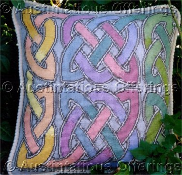 Elegant Barrani Pastel Celtic Knot Needlepoint Pillow Kit