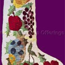 Rare Traditional Folk Art Fruit Floral Garland Needlepoint Stocking Kit