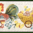Rare LeClair Rooster Crewel Embroidery Kit Vintage Easter Postcard Style Baby Chicks Pullcart