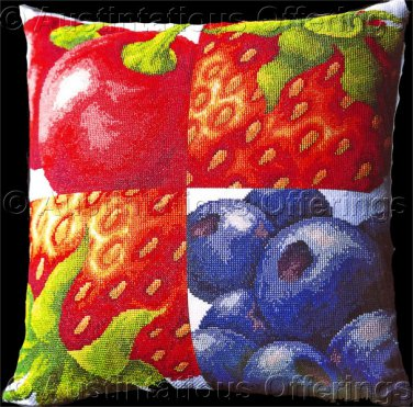 Bold Berry Foursome Cross Stitch Pillow Kit Cherries Strawberries Blueberries