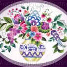 Elsa Williams Vibrant Jacobean Floral Crewel Embroidery Kit Gold and Blue Vase Michael LeClair