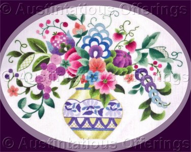 Elsa Williams Vibrant Jacobean Floral Crewel Embroidery Kit Gold and Blue Vase Michael LeClair