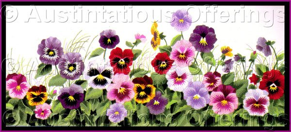 Rare Reina Cohen Spring Pansy Row Crewel Embroidery Kit Pansies on Parade