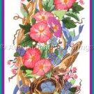 Rare Avery Morning Glory Bellpull /Panel Crewel Embroidery Kit Spring Birds Nest