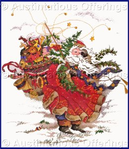 PEGGY ABRAMS WINDSWEPT SANTAS GOLD COLLECTION CROSS STITCH KIT WINDSWEPT ST NICK IN RED ROBE