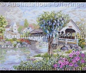 Nicky Boehme Artwork Reproduction Covered Bridge Cross Stitch Kit Sleepy Village