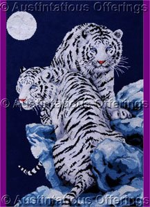 Dramatic White Tiger Pair Cross Stitch Kit Kayomi Harai Artwork Reproduction Moonlight Tigers