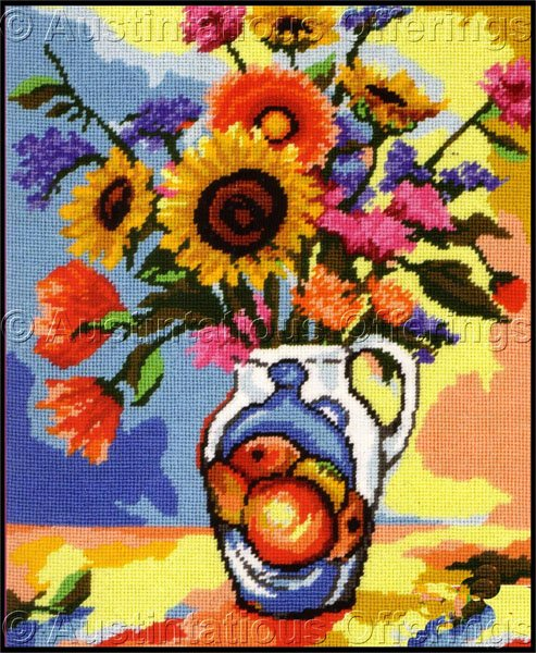Rare Gillum Vibrant Bouquet in Painted Pitcher Needlepoint Kit Bold Modern Floral