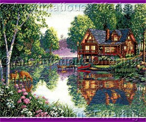 Kim Norlien  Artwork Reproduction Woodland Cottage CrossStitch Kit Lakeside Cabin