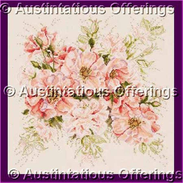 Mayhew Coral Pink Rose Spray Cross Stitch Kit Flower Garden