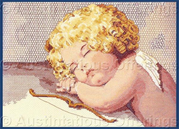 Rare Bessie Pease Gutmann Child Portrait Cross Stitch Kit Cupid Napping