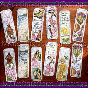 Inspirational Verses and Nature Book Mark Set Cross Stitch Kit Twelve Designs