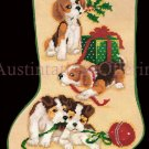 RARE GIBSON GREETINGS MISCHIEVOUS PUPPIES NEEDLEPOINT STOCKING  KIT
