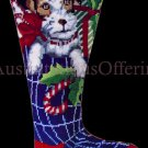 Rare Christmas Puppy Needlepoint Stocking Kit Doggy Candy Cane