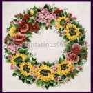 Rare Carter Sunshine Floral Wreath Crewel Embroidery Kit Sunflowers and Pansies
