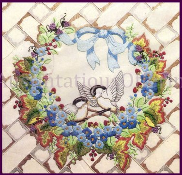 RARE SUMMERTIME FLORAL WREATH CANDLEWICKING CREWEL EMBROIDERY KIT NESTING CHICKADEES