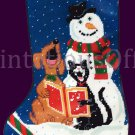 Rare Gibson Frosty and Friends Needlepoint Stocking Kit Dog Cat Snowman Trio Soprano Carollers