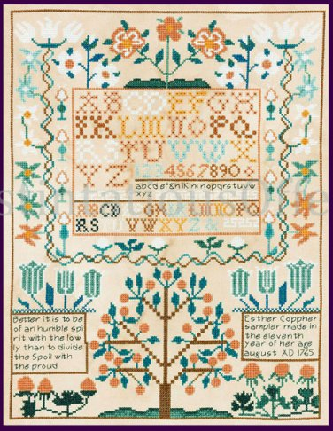 Smithsonian Reproduction Esther Copp Heirloom Sampler Cross Stitch Kit