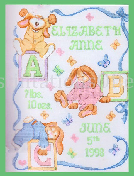Steinmeyer Sleepy Bunny Birth Record Stamped Cross Stitch Sampler Kit