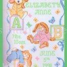 Steinmeyer Sleepy Bunny Birth Record Stamped Cross Stitch Sampler Kit