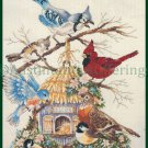 Rare Thatched Birdhouse Cross Stitch Kit Springtime Songbirds Bluebird Robin Chickadees Cardinal Jay