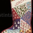 Rare Conn Baker Gibney Crazy Quilt Needlepoint Stocking Kit Patchwork  Christmas Sock