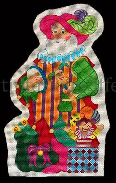 Rare Wilson Traditional Radko Troubadour Ornament Santa Hand Painted Needlepoint Canvas Kitted