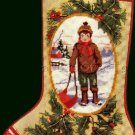 RARE CHILD PORTRAIT MINIATURE NEEDLEPOINT STOCKING KIT BOY WITH SLED