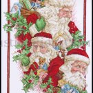 Rare Giampa Three Views of Father Christmas Cross Stitch Kit Santa Claus with Sack of Toys