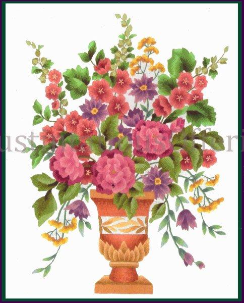 Elsa Williams Classic Formal Garden Spray Bouquet Crewel Embroidery Kit Clay Vase Michael LeClair