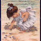 Rare Nancy Cole Art Repro Seaside Excursion Cross Stitch Kit Finding Sea Shells