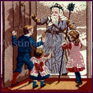 RARE YULETIDE NEEDLEPOINT PILLOW KIT VICTORIAN POSTCARD FATHER CHRISTMAS VISTING CHILDREN