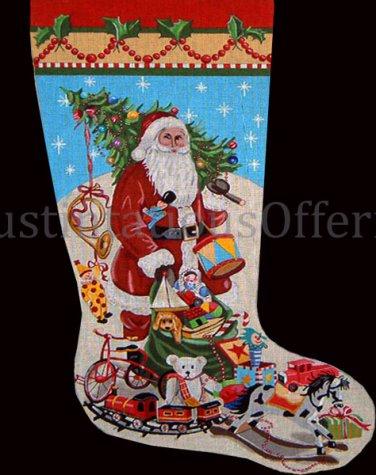 Rare Mary Kay Crowley Hand Painted Needlepoint Stocking Canvas 3003 Santa Toy Sack