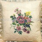 Rare Wildflower Candlewicking Crewel Embroidery Floral Pillow Kit Goldenrod Irises Pansies