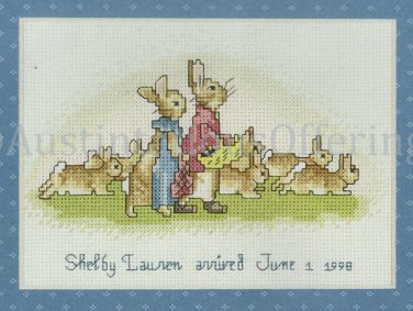 Rare Beatrix Potter Bunnies Counted Cross Stitch Kit Flopsy Bunny Family