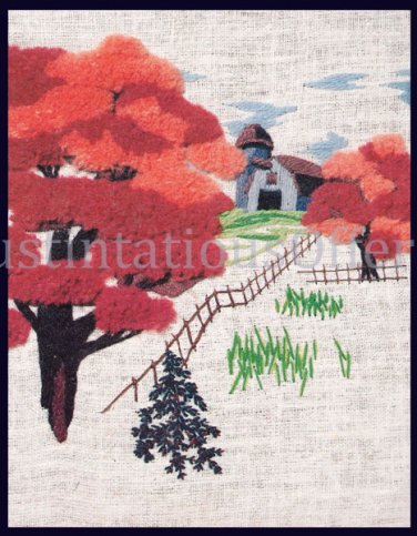 Rare Noel Artwork Repro Autumn Farm Crewel Embroidery Kit Fall Foliage Suits Beginners