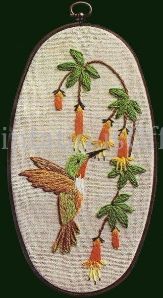 Rare June Cooper HummingBird Crewel Embriodery Kit With Frame Trumpet Vine
