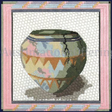 Rare Native American Pottery Textured Needlepoint Kit Southwestern Pastels