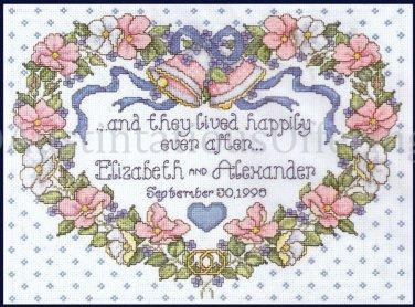 Elliot Floral Heart Wedding Sampler Cross stitch Kit Happily Ever After
