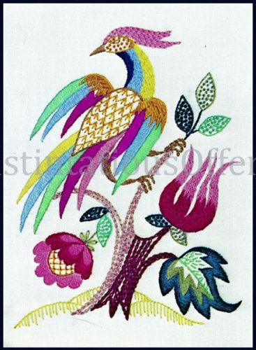 Rare Vibrant Phoenix at Rest Crewel Embroidery Kit Jacobean Floral MultiHued Bird