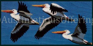 Rare Seabirds in Flight Longstitch Needlepoint Kit Pelican Trio