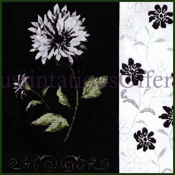CONTEMPORARY CONTRASTING FLORAL CROSS STITCH KIT BLACK WHITE FLOWERS