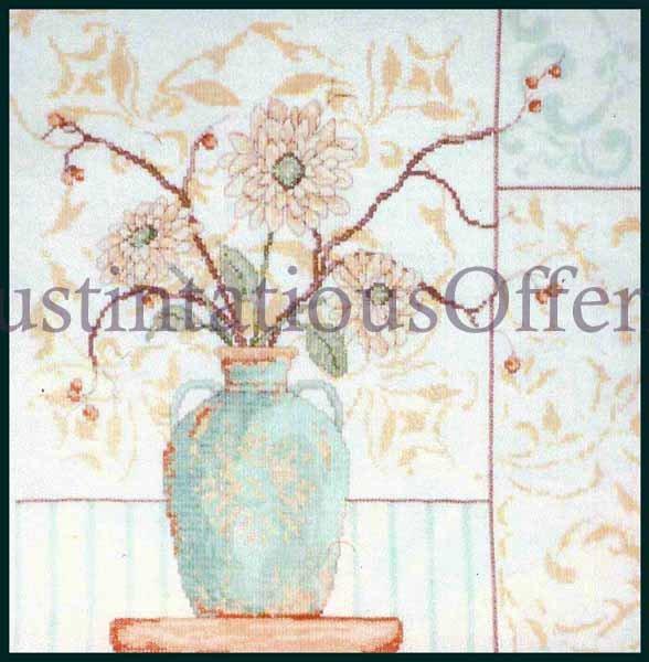 CONTEMPORARY PASTEL FLORAL  CROSS STITCH KIT MODERN FLOWER BOUQUET IN VASE