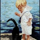 Rare Nancy Cole Art Repro Seaside Excursion Cross Stitch Kit Playing With Cat